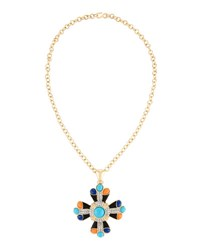 Kenneth Jay Lane Long Mixed Cabochon And Crystal Cross Pendant Necklace