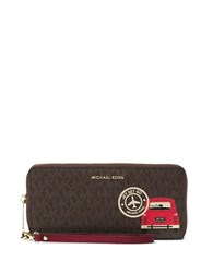 Michael Michael Kors Drive Away Leather Printed Wristlet Wallet Brown Cherry