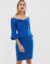 Paper Dolls Sweetheart Midi Bodycon Dress With Knot Front In Cobalt Blue