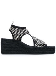 Kenzo Net Wedge Espadrilles Women Raffia Leather Polyamide Rubber 37 Black