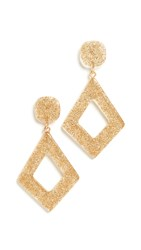 Madewell Diamond Shape Resin Glitter Earrings Gold Glitter