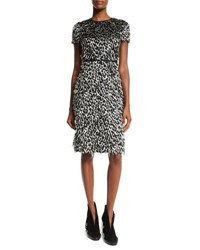 Burberry Ocelot Short Sleeve Animal Print Feathered Dress Off White Black