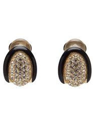 Christian Dior Vintage Rhinestone Clip On Earring Black