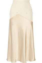 Esteban Cortazar Paneled Stretch Knit And Satin Midi Skirt Ecru
