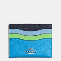 Coach Flat Card Case In Colorblock Leather Silver Azure Multi
