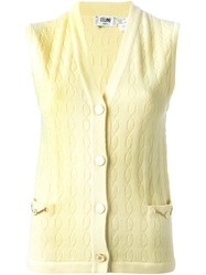 Celine Vintage Knit Gilet Yellow And Orange