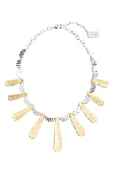 Karine Sultan Women's Hammered Collar Necklace Silver Gold Mix