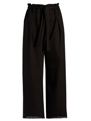 Etoile Isabel Marant Odea Wide Leg Frayed Hem Trousers Black