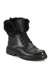 Moncler Patty Rabbit Fur And Leather Boots Black
