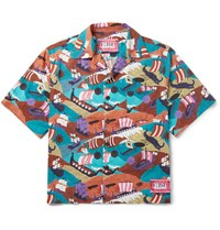 Prada Camp Collar Printed Cotton Shirt Multi