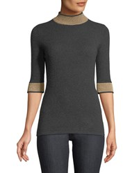 Neiman Marcus Cashmere Metallic Banded Half Sleeve Sweater Charcoal Softgold