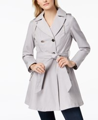 Laundry By Shelli Segal Belted Skirted Trench Coat Cool Grey
