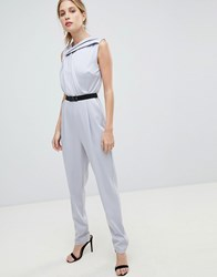 Little Mistress Belted Tailored Jumpsuit Grey