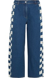 Keji Cropped Checked Jeans Mid Denim