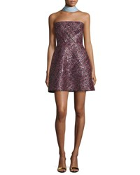Monique Lhuillier Strapless Sequined Cocktail Dress Pink
