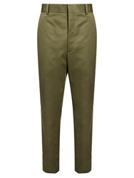 Balenciaga Straight Leg Cropped Trousers Khaki