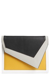 Leith Colorblock Faux Leather Envelope Clutch Yellow Yellow Multi
