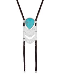 Lucky Brand Key Items Silvertone Semi Precious Rock Crystal And Reconstituted Turquoise Cabochon Leather Bolo Necklace