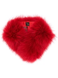 Mr And Mrs Italy Racoon Fur Scarf Red