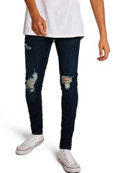 Topman Skinny Fit Ripped Spray On Jeans