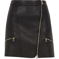 River Island Black Faux Leather Zip Front Mini Skirt
