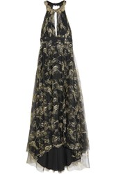 Marchesa Notte Embroidered Beaded Metallic Tulle Gown Black