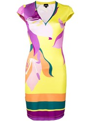 Just Cavalli Fitted Day Dress Yellow