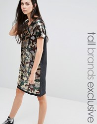 Liquor And Poker Tall Sequin Oversized Dress In Camo Print Camo Green