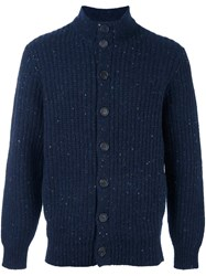 Brunello Cucinelli Flocked Ribbed Cardigan Blue