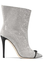 Marco De Vincenzo Bow Embellished Perspex Trimmed Swarovski Crystal And Leather Ankle Boots Silver