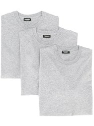 Dsquared2 Plain T Shirts Pack Of 3 Grey