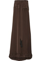 See By Chloe Off The Shoulder Ruffle Trimmed Silk Dress Dark Brown