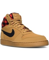 Nike Men's Court Borough Mid Premium Casual Sneakers From Finish Line Wheat Black Lt Crimson Gu