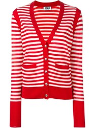 Sonia By Sonia Rykiel Contrast Pocket And Cuffs Striped Button Down V Neck Cardigan Red