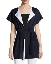 Ming Wang Reversible Belted Short Sleeve Jacket Navy White