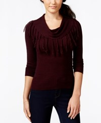 Amy Byer Bcx Juniors' Fringed Cowl Neck Pullover Sweater Bordeaux