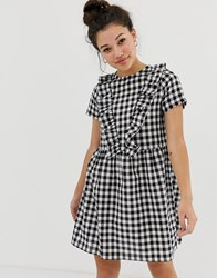 Daisy Street Smock Dress With Ruffles In Gingham Black
