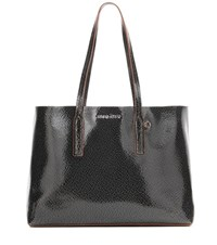 Miu Miu Glossed Leather Shopper Black