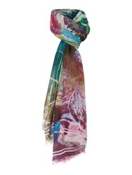 Oui Cactus Print Scarf Multi Coloured Multi Coloured