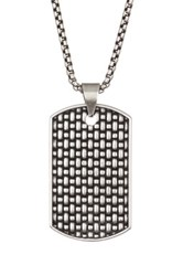 Steve Madden Textured Dog Tag Necklace Metallic