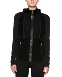 Callens Corsetry Leather Suede Biker Vest Black