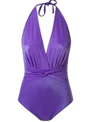 Skinbiquini Halter Neck Ruched Swimsuit Pink And Purple