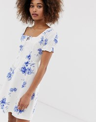 Neon Rose Tea Dress In Floral Embroidered Fabric Blue