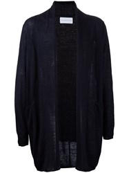 Estnation Long Open Cardigan Men Linen Flax L Black