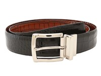 Torino Leather Co. Reversible Italian Crocodile Embossed Black Cognac Men's Belts