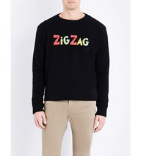 The Elder Statesman Zig Zag Knitted Cashmere Jumper Black