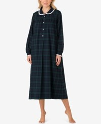 Lanz Of Salzburg Peter Pan Collar Flannel Nightgown Blue Green Plaid