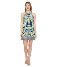 Laundry By Shelli Segal Printed Pleated Halter Dress Blarney Women's Dress Green