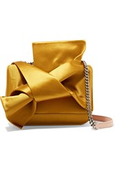 N 21 No. Knot Satin And Leather Shoulder Bag Yellow