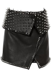 Balmain Wrap Effect Studded Leather Mini Skirt Black